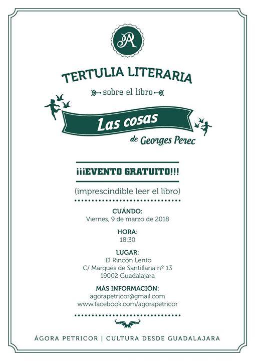 """Tertulia literaria sobre """"Las cosas"""" de Georges Perec"""