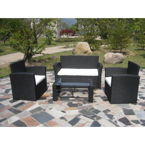 Ikayaa jardín conjunto de negro poli muebles de jardín es Stock - Mi ...