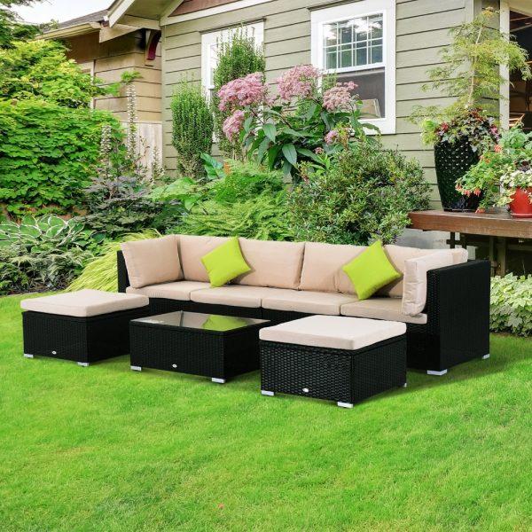 Conjunto Muebles de Jardín de Ratán 7 piezas Mesa sofás Taburetes ...