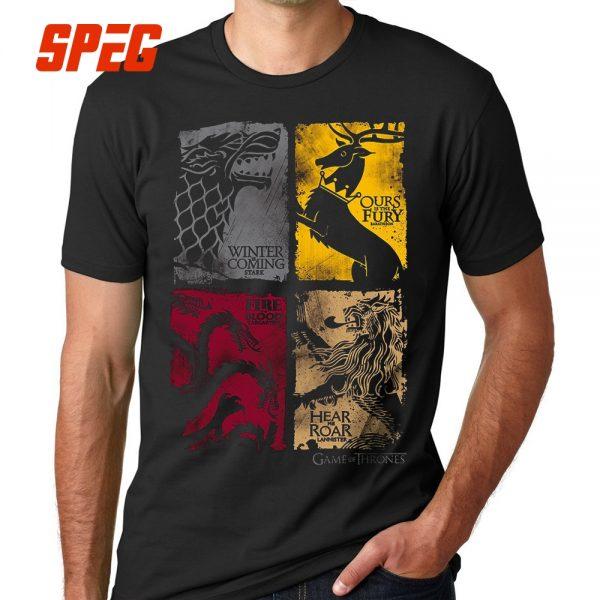 Juego de tronos vintage Camisetas Tees hombres camiseta serie de TV ... 8a92ff68d0d38