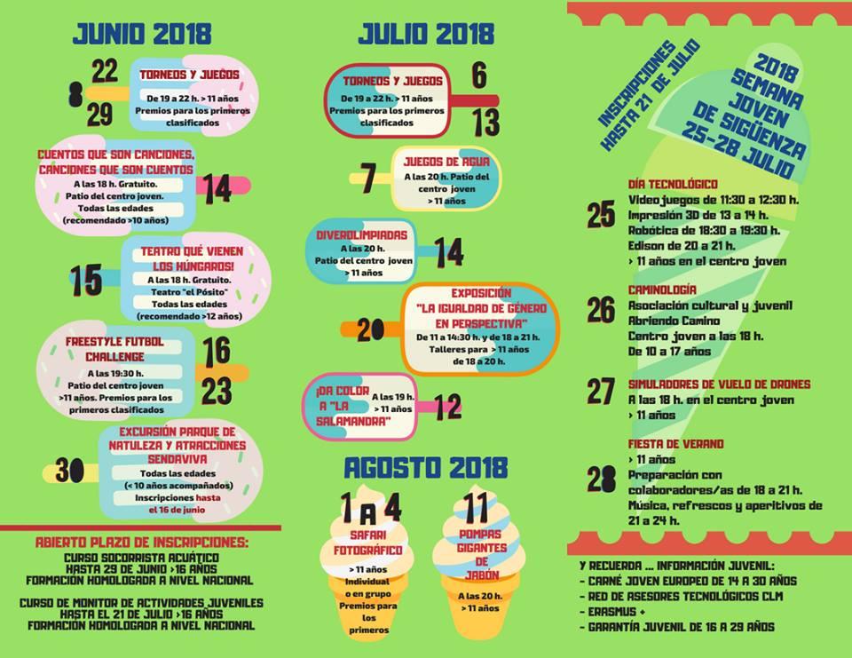 Programa de actividades de verano 2018 en el CIJ La Salamandra Sigüenza