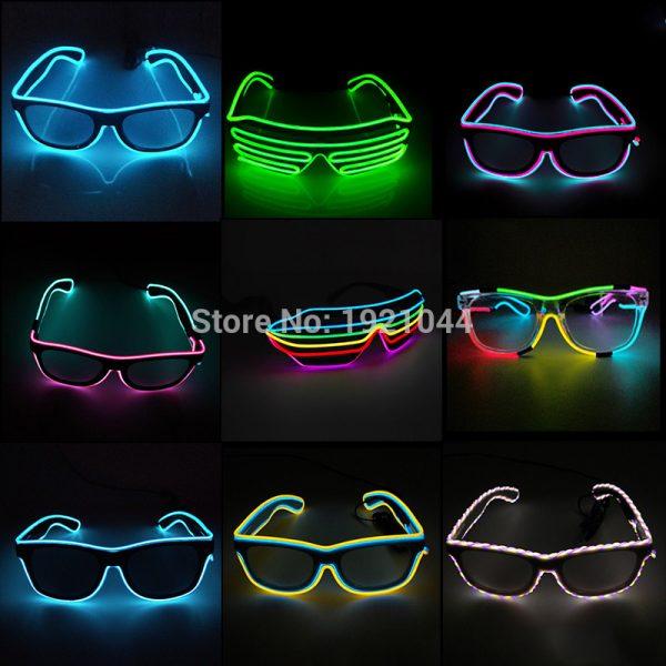 d4db171469 Colores dobles sonido activado EL cable gafas Led iluminación brillante  colorido gafas luminosas para la ...