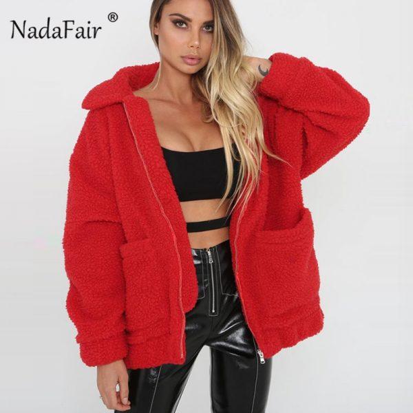 Nadafair De Tamaño Chaqueta Piel Plus Abrigo Lana Oveja Mujer rErxwzXq5