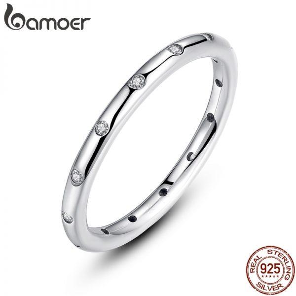1fc168645ad BAMOER 2 colores 925 de gotas de plata esterlina apilable dedo anillo para  las mujeres joyería de la boda de regalo de día de San Valentín PA7132
