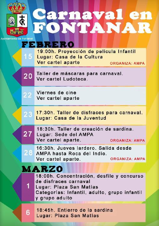 Programa carnaval de Fontanar 2019