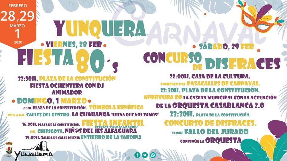 Programa Carnaval  Fiesta 80`s en Yunquera de Henares 2020