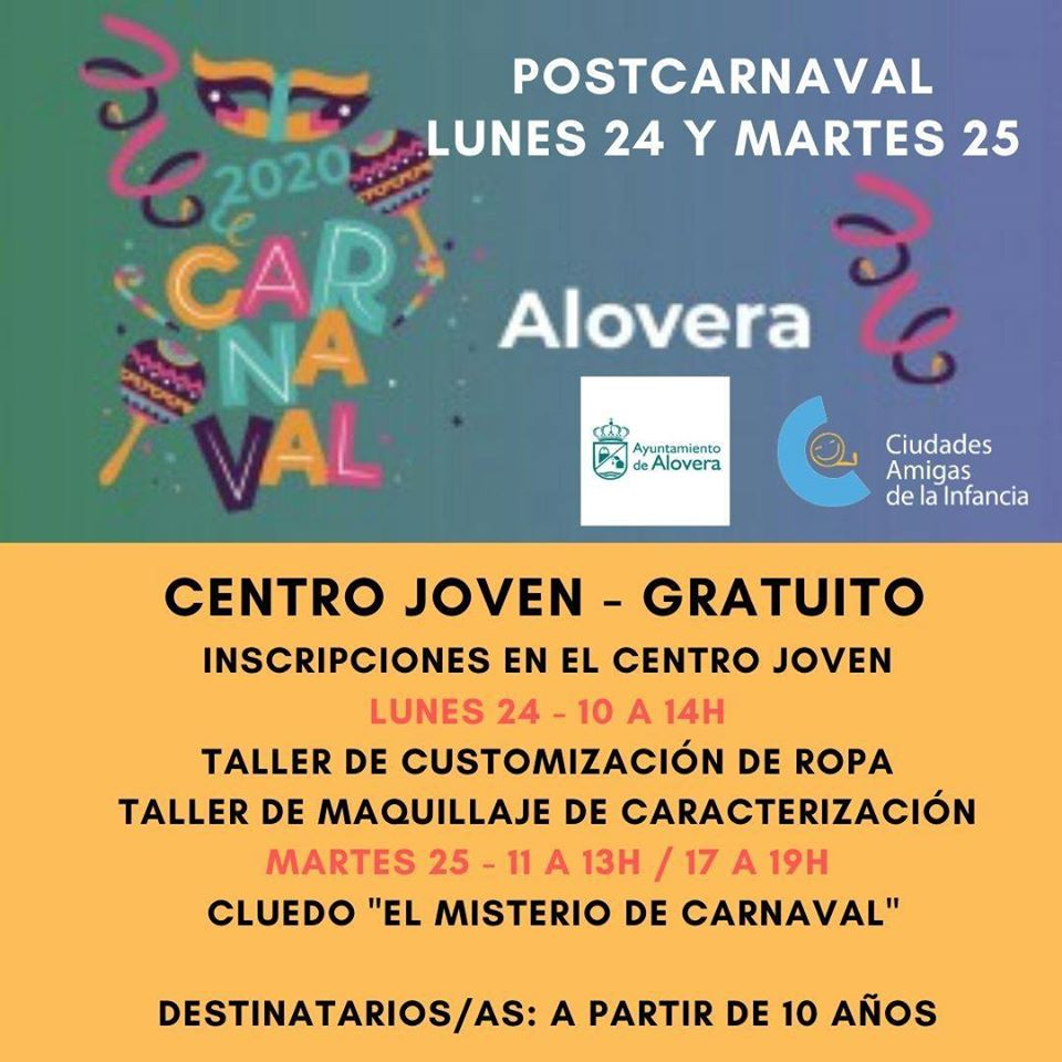 POSTCARNAVAL 24 Y 25 DE FEBRERO ALOVERA