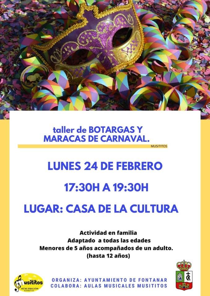 TALLER DE BOTARGAS Y MARACAS DE CARNAVAL  FONTANAR